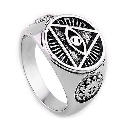 Mens Stainless Steel Ring Illuminati The All Seeing Eye Symbol