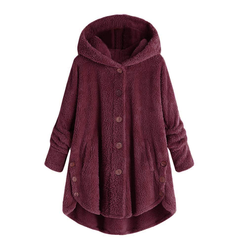 Gorday Women Hoodie Coat, Casual Button Fluffy Tail Solid Long Sleeve Sweater Fashion Loose Pullover Tops Blouse Outwear