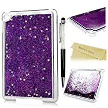 iPad Mini 4 Case - Mavis's Diary Bling Flowing Liquid Lovely Funny Design Clear Back Case Hard PC Cover for iPad Mini 4 with Stylus Pen - Cute Stars / Purple Liquid