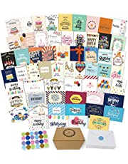 $23 » 60 Unique Happy Birthday Cards Assortment- Birthday Cards Bulk With Message Inside- 5 x 7 Inches Birthday Cards Boxed Envelopes Included-Birthday Cards Pack for Men Women Kids- Home Office-Bday Cards