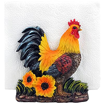 Decorative Rooster Napkin Holder Stand Sculpture for Figurines and Statues As Farm & Country Kitchen Decor Table Centerpieces and Collectible Chicken or Rustic Gifts for Farmers