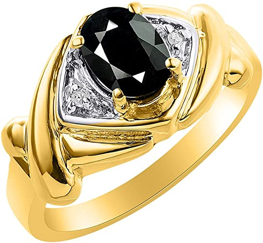Diamond /& Onyx Ring Sterling Silver or Yellow Gold Plated