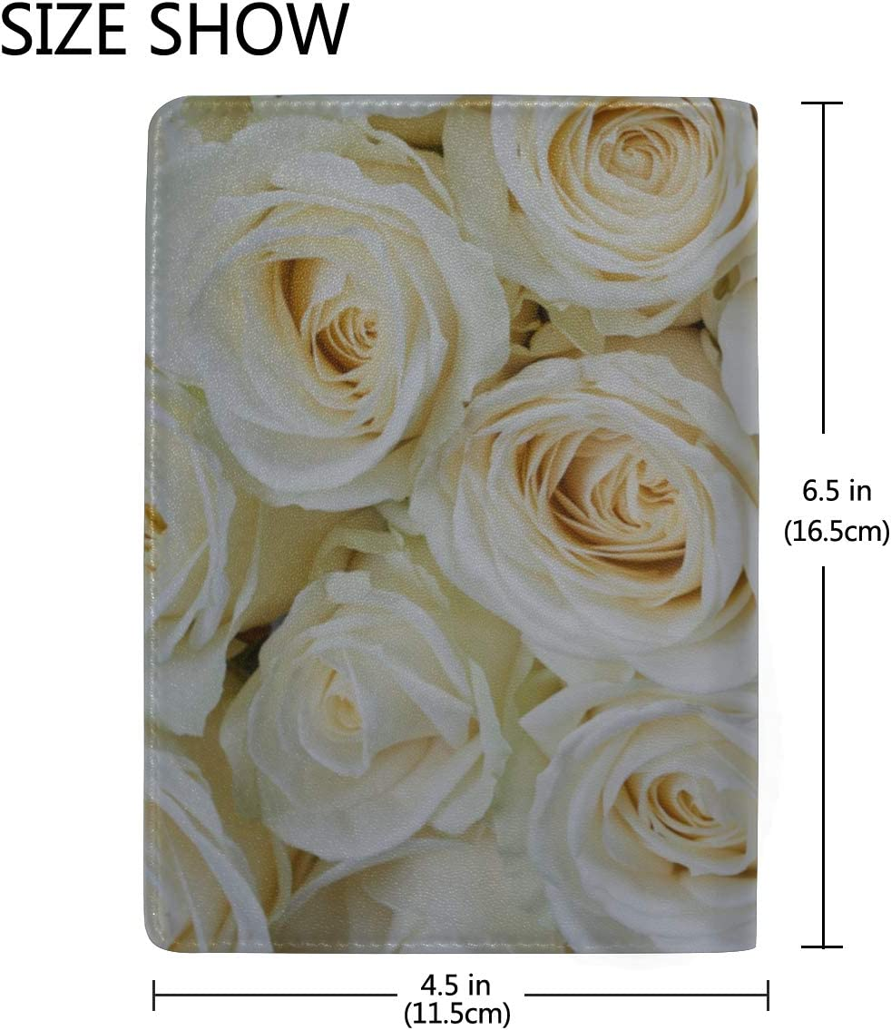 Beautiful White Rose Flowers Blocking Print Passport Holder Cover Case Travel Luggage Passport Wallet Card Holder Made With Leather For Men Women Kids Family