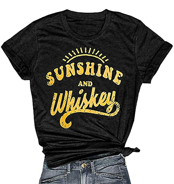 2d11f3fe9 YEXIPO Womens Sunshine and Whiskey Short Sleeve Country T Shirt Country  Music Beach Funny Graphic Tees Summer Tops at Amazon Women's Clothing store: