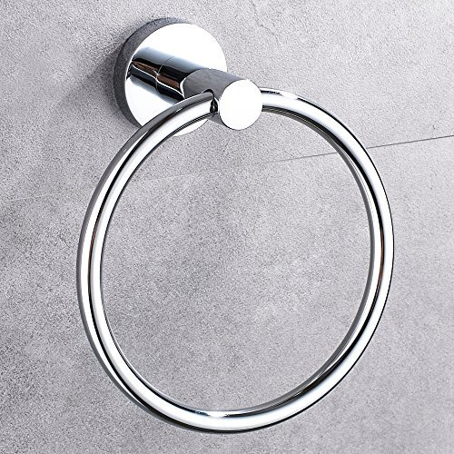 Hand Towel Ring Stainless Steel And Chrome Plasted, Normal Screw & Strong Adhsesive Two Installation (Chrome Hand Towel)