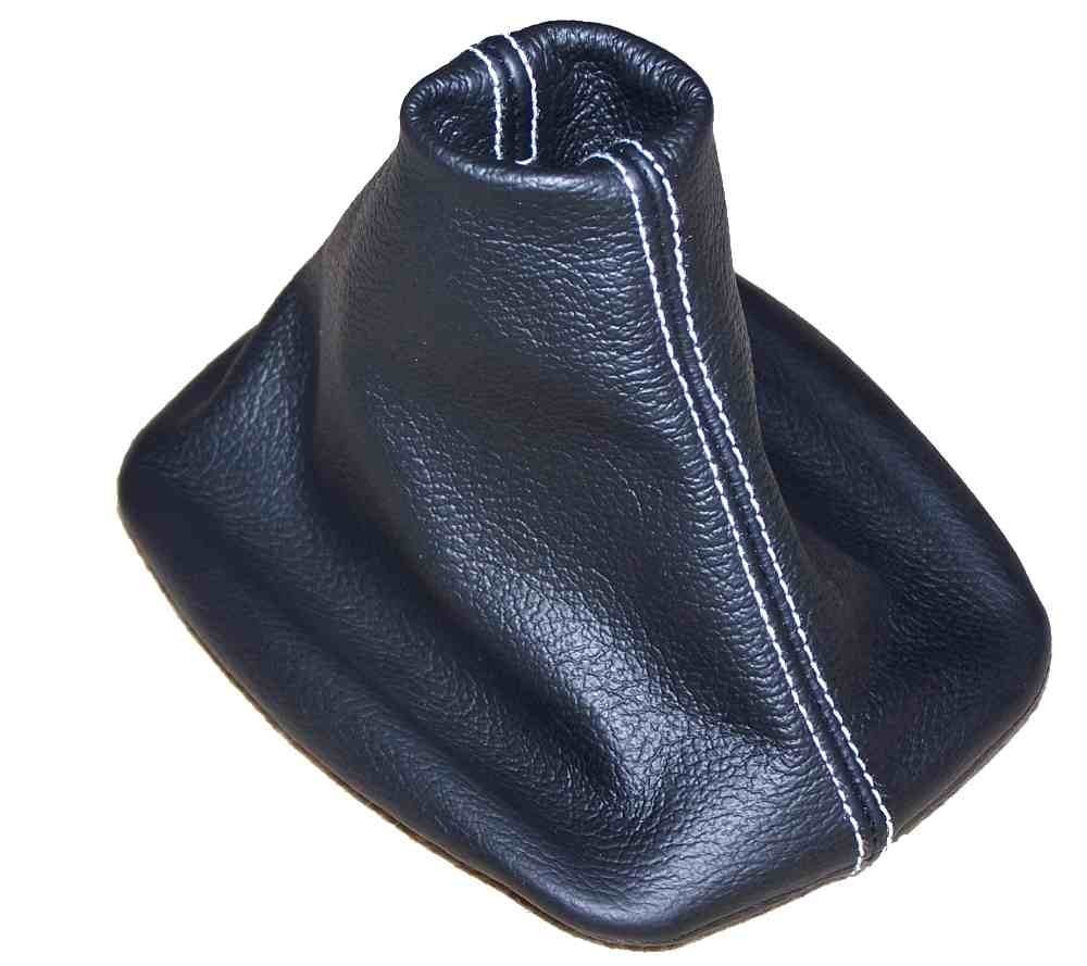 de cuero negro con costuras en color blanco Funda para palanca de cambios