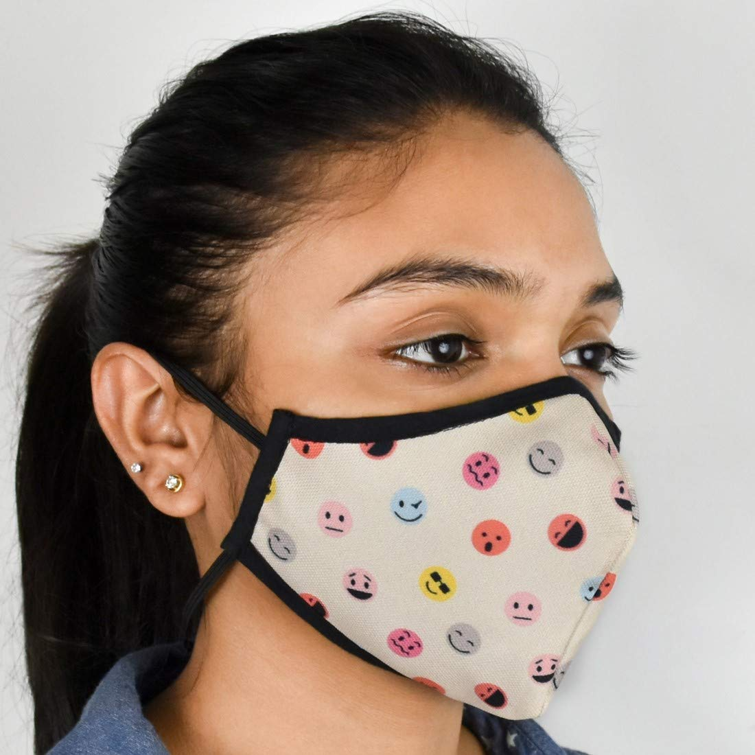 "Indigifts Pollution Mask For Adults Face Mask For Men/Women Designer Printed Anti Pollution Nose Mask for Dust Protection (Unisex, 4.5""x5"", 1 Piece) - Half Mouth Protection Washable Face Mask"