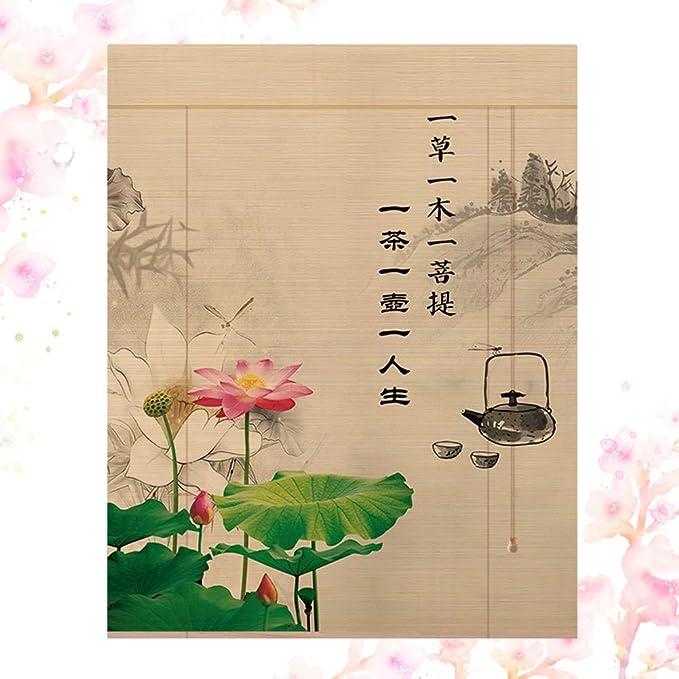 Personnalisable WZB Rideau de Bambou Rond Motif cr/ème Solaire Respirant Demi-ombrage Noir Style Chinois Couleur: A, Taille: 50x180cm
