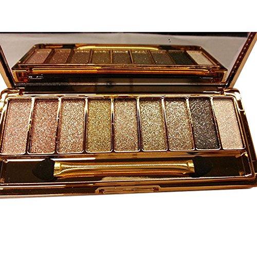 eubell 9 colors Waterproof Diamond Bright Makeup Eye Shadow Set Glitter Eyeshadow Palette with Brush