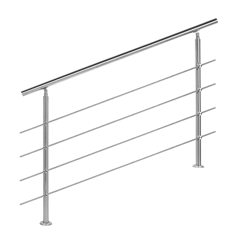 HENGMEI 160cm Rampe descalier Main courante murale Garde-corps en acier inoxydable Baguettes terrasse Kit Escaliers pour les escaliers et marches 5 poteaux