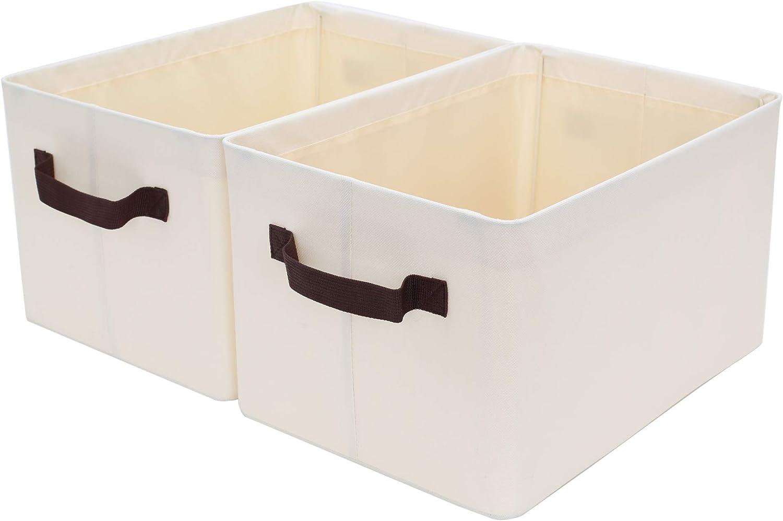 StorageWorks Storage Bins for Shelves with Metal Frame, Rectangle Storage Baskets, Large, Beige, 2-Pack