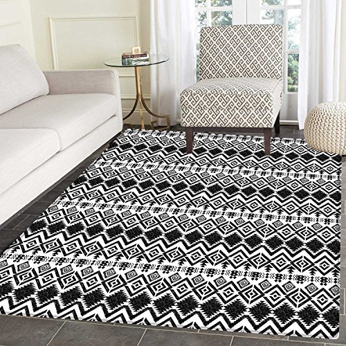 Price comparison product image Geometric Dining Room Home Bedroom Carpet Floor Mat Monochrome Hand Drawn Tribal Pattern Abstract Aztec Motifs Ancient Civilizations Non Slip rug 5'x6' Black White