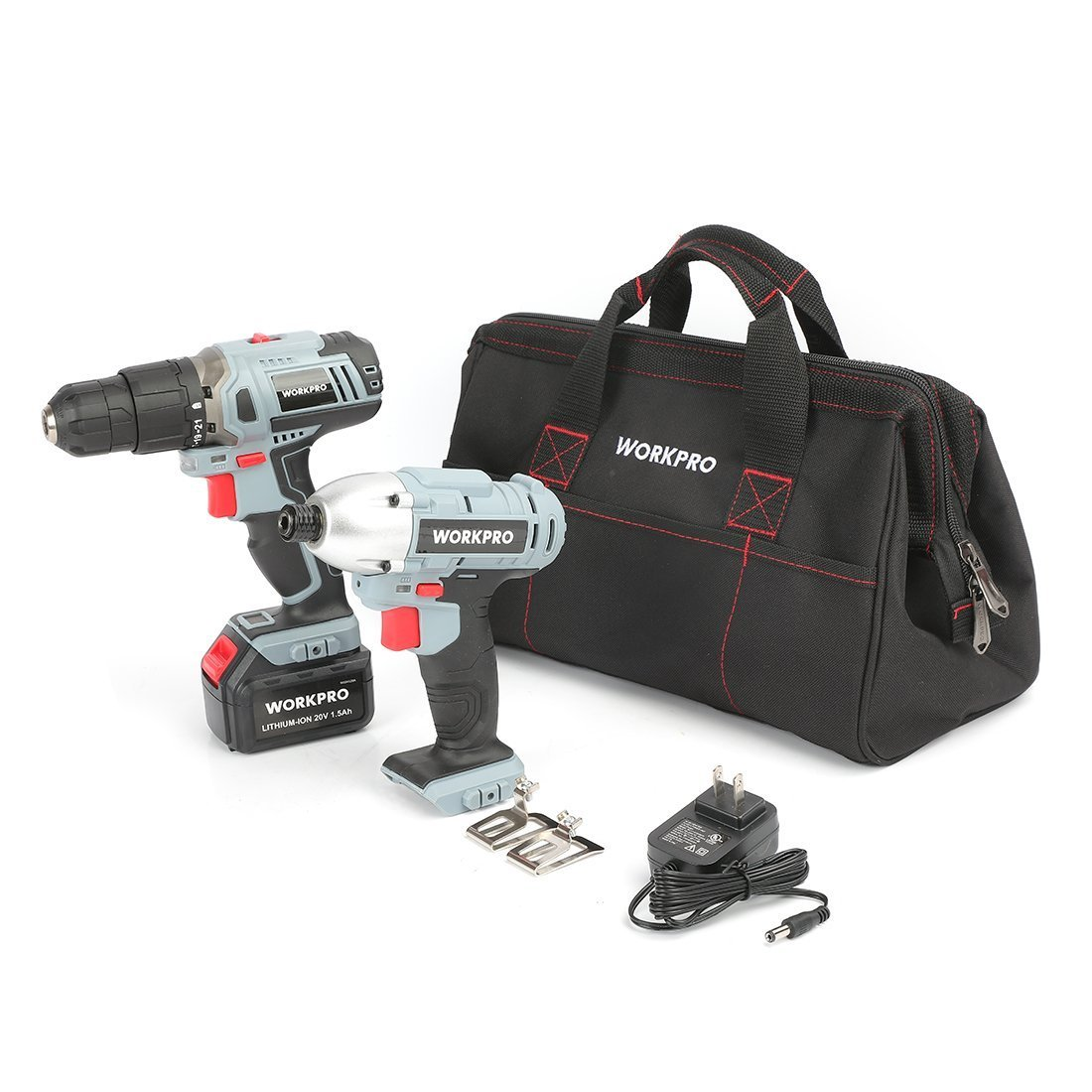 WORKPRO Cordless Drill/Driver Impact Combo Kit 20V Lithium (1.5Ah), 1 Battery and Charger Included LTD