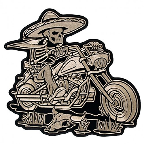 - Hot Leathers, SOMBRERO SKELETON RIDER, High Quality Iron-On / Saw-On, Heat Sealed Backing Rayon PATCH - 5