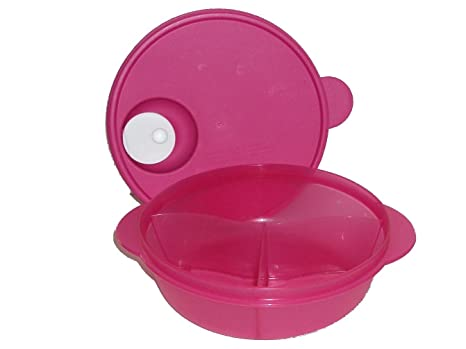 Tupperware CrystalWave Microwave Lunch N Dish Divided Bowl Fuchsia Pink