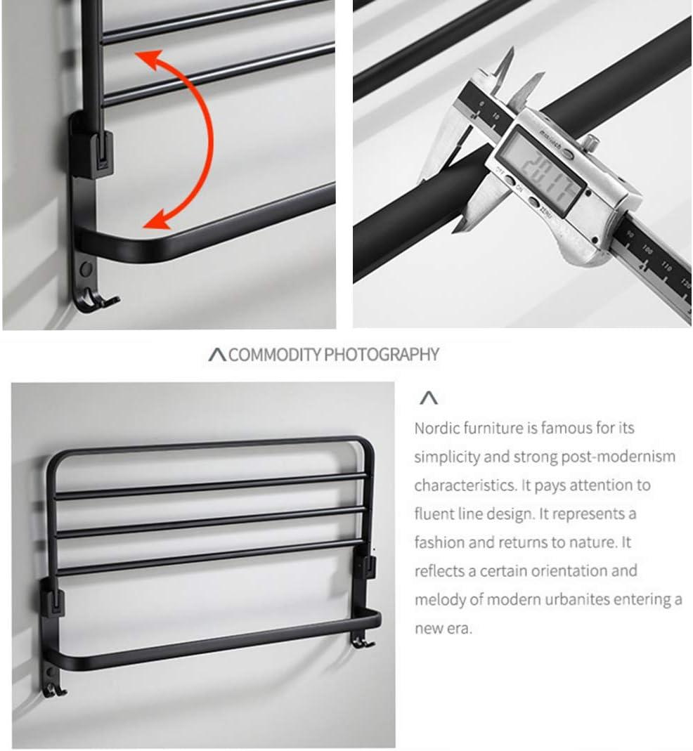 Plegable Color Negro 49 cm AJINGE Toallero de Pared de Aluminio