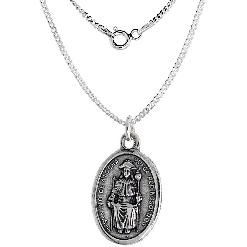 Sterling Silver St Nio De Atocha Medal Necklace Oval 1.8mm Chain
