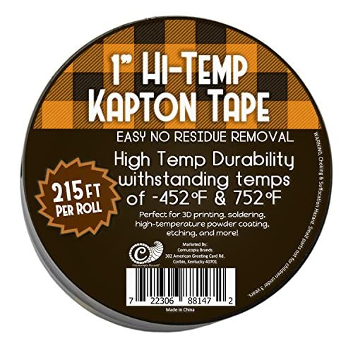 (2-Pack) 1 Mil Hi-Temp Kapton Tape (144 Yards Total); 2 Roll Set of Polyimide Film Tape for 3D Printing, Soldering, Insulating Circuit Boards & More! (1 Inch)