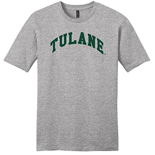 NCAA Tulane Green Wave Arch Soft Style T-Shirt, Light Heather Grey, (Tulane Green Wave Shirt)