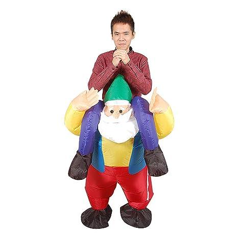 JEOHMMA - Disfraz Hinchable de Papá Noel con Montura de Reno para ...
