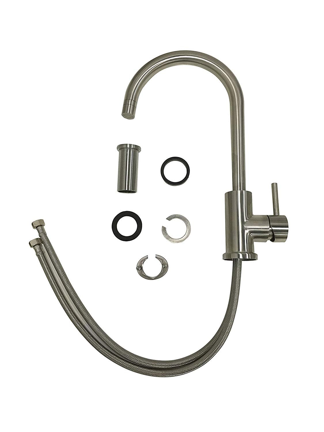 Trywell T304 Solid Stainless Steel Kitchen Sink Faucet, High Arc Single Lever Bar Faucet with Two-function Nozzle,1.8 Gpm by Trywell (Image #8)