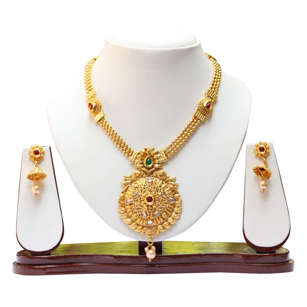 3649398f5e Buy Swarajshop Copper Gold-Plated Green Maroon Short Necklace Set for  Women's Online at Low Prices in India | Amazon Jewellery Store - Amazon.in