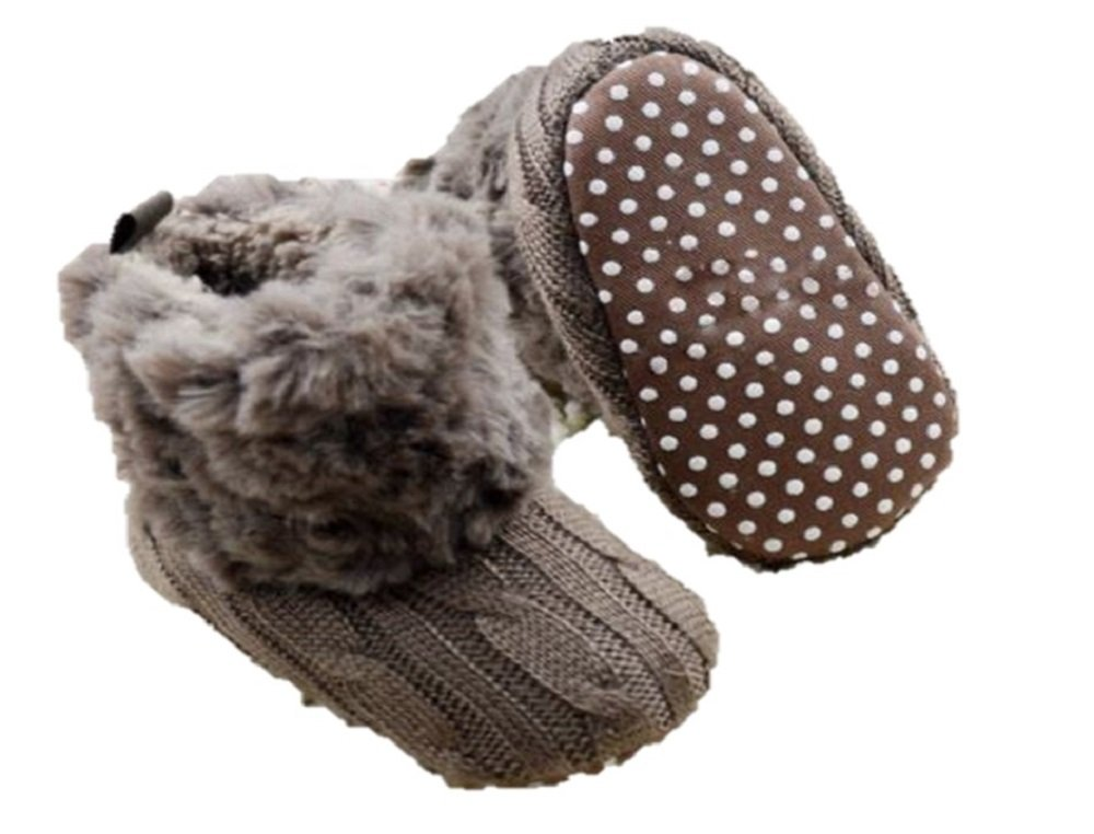 [ 100% Handmade ] Winter Warm First Walkers Baby Ankle Snow Boots Infant Crochet Knit Fleece Baby Shoes For Boys Girls New Born To 18 Months Baby (3, Brown)