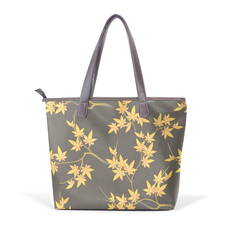 Womens Leather Tote Bag,Japanese Traditional Flower Pattern,Large Handbag