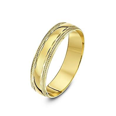 Theia Anillo de Bodas de Oro Amarillo, 9K, Diseño de Forma de Diamante con Bordes Moldeados en Milgrain, Pulido, 5mm - Tamaño 19: Amazon.es: Joyería