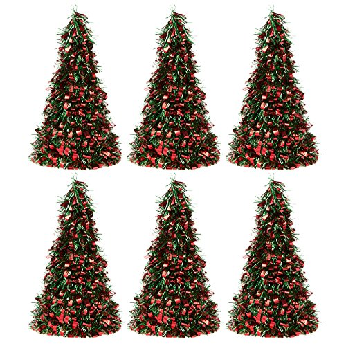 Juvale 6-Pack Tinsel Tree - Sparkling Artificial Christmas Tree - Perfect Ornament for Xmas - Red and Green, 10 x 4.7 Inches