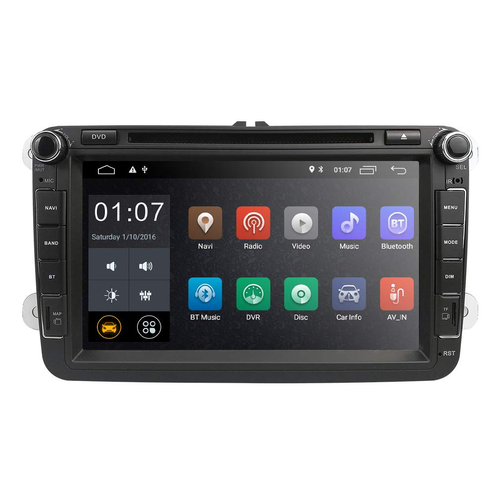 hizpo Android 8.1 Car Radio for VW Volkswagen Passat T5 Golf MK5 Jetta GTI Polo EOS Skoda 8 Inch Car Stereo DVD Player GPS Navi Radio Camera ...