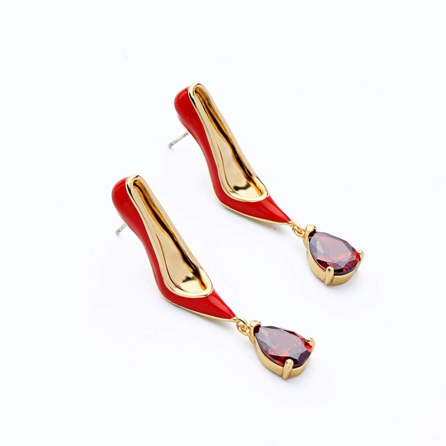 Jewelry Cooper Enamel Red High Heel Shoes Drop Earring Piercing Earring Jewelry