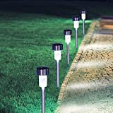 Landscape Path Lights LED Garden Stake Light Stainless Steel Solar Post Lights for Flowerbed Driveway Patio Lawn Outdoor Decoration White 5PC