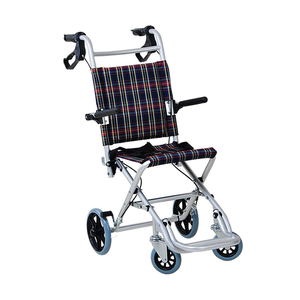 XXHDEE Folding Ultralight Portable Wheelchair Child Aged Scooter Travel Airplane Trolley Walking aids (Size : A) by XXHDEE