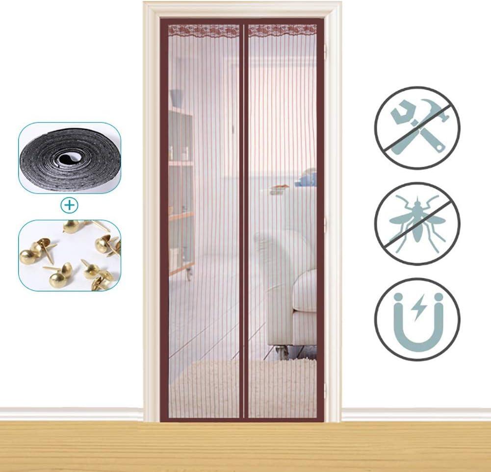 Xrrxy Puerta magnética para mosquiteras, Insectos Mosquito Door Screen, Totalmente Magnética, Cierre Automático y Velcro Adhesiva, para Puertas Correderas/Balcones/Terraza,Marrón,70x205cm(28x8linch): Amazon.es: Hogar