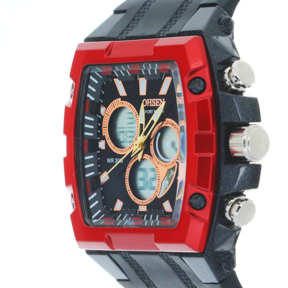 Amazon.com: Ohsen Black Strap With Tonneau Dial Chronograph Multifunction Watches: Ohsen: Watches