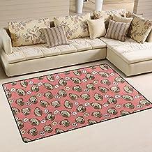 WOZO Funny Pug Puppy Dog Area Rug Rugs Non-Slip Floor Mat Doormats Living Room Bedroom 31 x 20 inches