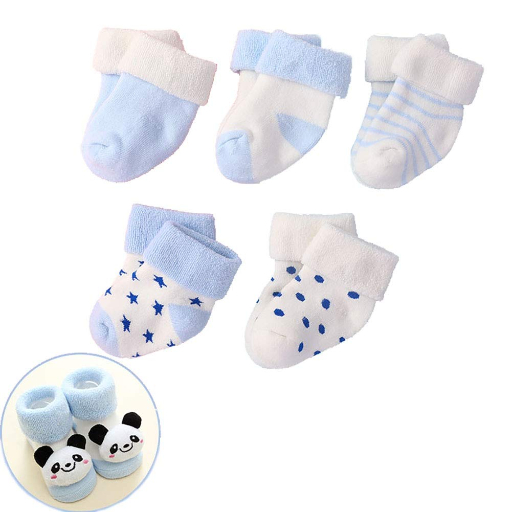 5 Pairs Baby Socks, Soft Warm Cotton Socks Boys Girls 0-24 Months (Color : Blue, Size : 0-6 Months) by Wazi