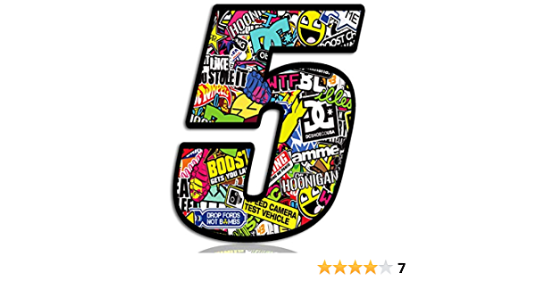 Biomar Labs/® Adesivo Sticker Numero Racing 4 Gara DC Sticker Bomb Auto Moto Cross Rally Sport Tuning N 204