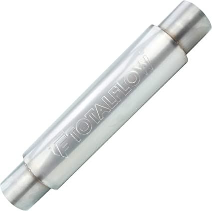 TOTALFLOW 22016 Straight Through Universal Exhaust Muffler 304 Stainless Steel 2.5 Inch Inner Diameter Inlet//Outlet