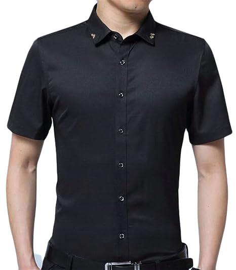 0618a3c3d Pandapang Men's Formal Solid Color No Iron Short Sleeve Button up Dress  Shirts Black XXS