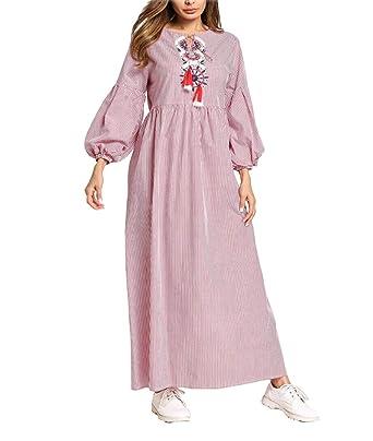 69da087eeda3b Amazon.com  Muslim Abaya Women Islamic Dress - Long Sleeve Maxi Kaftan   Clothing