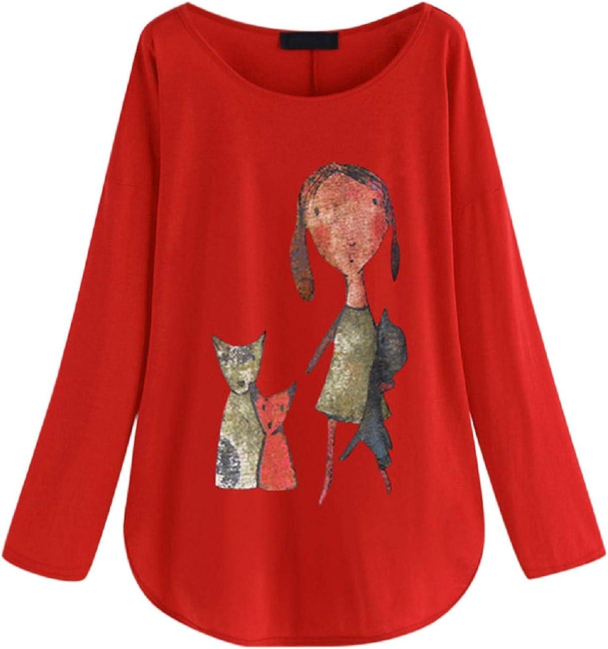 FAPIZI Womens Plus Size Blouse Autumn Long Sleeve Casual Loose O-Neck Print Tunic Shirt Blouse Flowy Comfy Tunic
