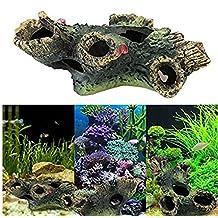 OWIKAR Aquarium Decor Resin Dead Wood Tree Log Fish Tank Decorations Ornament Simulation Tree Trunk Stump Fishes Shrimps Hiding Cave Artificial Landscape 4.7inch Small Size