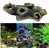 OWIKAR Aquarium Decor Resin Dead Wood Tree Log Fish Tank Decorations Ornament Simulation Tree Trunk Stump Fishes Shrimps Hiding Cave Artificial Landscape 4.7inch Small Size