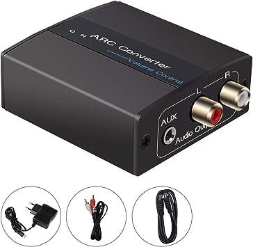 Convertidor digital a analógico, arco HDMI a conector de 3,5 mm y R / L, control de volumen, adaptador de audio Tiancai Adecuado para auriculares de cine en casa con amplificadores estrechos: