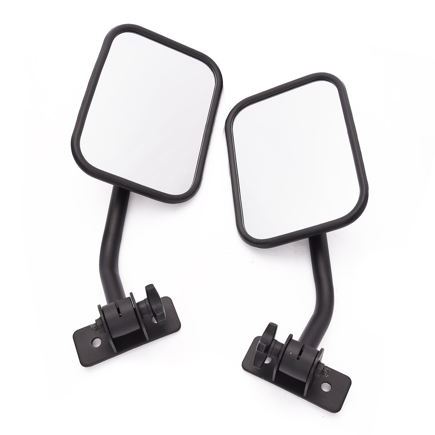 MICTUNING Side Mirrors with Anti-Slip Mount Bracket, Adjustable for 1997-2018 Jeep Wrangler TJ JK LJ - 1 Pair, Textured Black