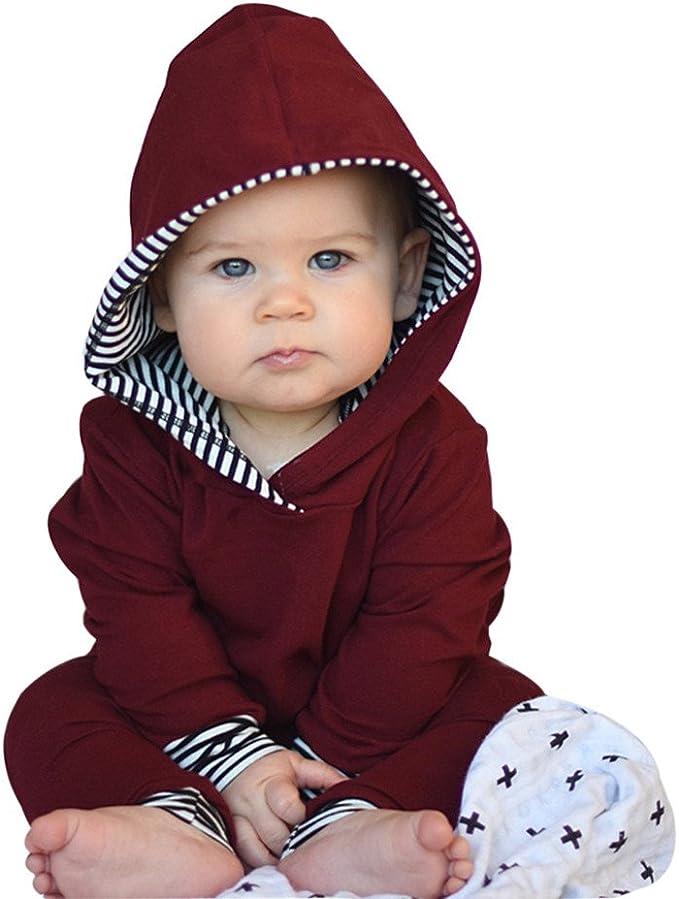 2Pcs Neonato Bambina Manica Lunghe Cappuccio Vestiti Cappotto Top Felpa /& Pantaloni,Homebaby Giacca Ragazzo e Ragazza Caldo Abiti Costume di Abbigliamento Giornaliero Romper Tutina Tuta Regalo