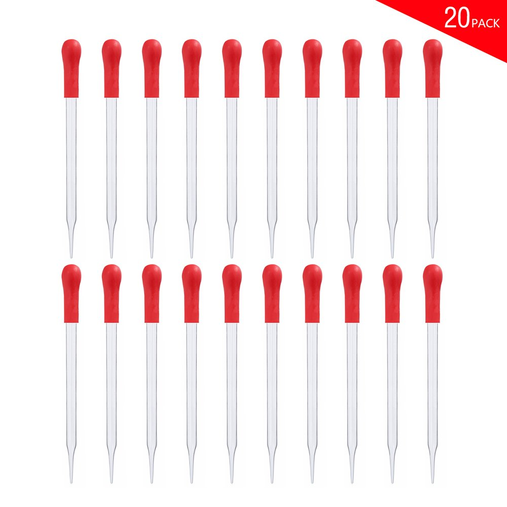 Glass Pipette Dropper Dropping Pipet Liquid Essential Oil Transfer pipette with Red Rubber Cap (10CM) Burry Life Science