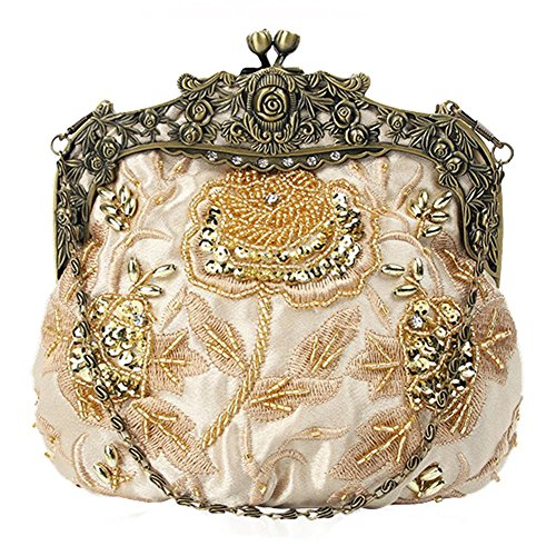 Dinner Bags£¬ NVBAO Clutch Beaded Floral Party Antique Wedding Women's 16cm 18 X gold Sequin Bag Evening q0rTw0SBPn